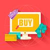 Flach Commerce Internet-Buy-Hintergrundkonzept