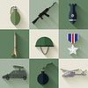 Armee-Konzept von militärischer Ausrüstung Flach Symbole