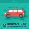 Wohnung Minivan Auto Hintergrund Konzept. Tamplate für w