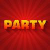 Feuer-Party Text auf rotem Hintergrund Konzept. Design