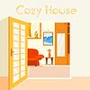 Wohnung gemütliches Zimmer in Haus mit offenen Türen Hintergrund