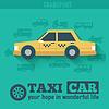 Wohnung Taxi Auto Hintergrund Konzept. Tamplate für Web-