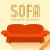 Wohnung roten Sofa Hintergrundkonzept