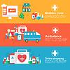 배너 평면 의료 아이콘 개념의 설정 | Stock Vector Graphics