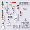 Тонкие линии наметить Музыкальные инструменты иконки | Векторный клипарт