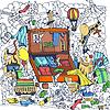 Hand zeichnen Reise Rucksack mit Kleidung Skizze