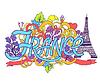 Frankreich Kunst abstrakte Hand Schriftzug und Kritzeleien