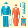 Flugzeug Pilot und Stewardess Uniform auf Flach