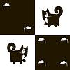 Векторный клипарт: Черная кошка и белый 2x мыши