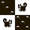 Векторный клипарт: Черная кошка и белый 3x мыши
