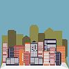 Векторный клипарт: Downtown фон с голубого неба