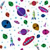 Nahtlose Weltraum-Hintergrund mit Raketen, palanets