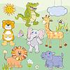 Set mit Comic-Tiere