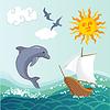 Sommer-Hintergrund mit einem Meer, Schiff und Delfine