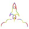 Abstraktes Bild von einer Rakete.