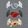 3 verschiedene Herzen mit Flügeln
