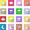 Wetter Flach Symbole Set und weißen Hintergrund