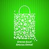 Einkaufstasche für Spring Sale, weiß auf grün