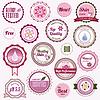 Set kosmetische Abzeichen, Etiketten und Aufkleber