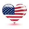 Flagge der Vereinigten Staaten in Form von Herzen