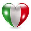 Herzförmige Symbol mit Flagge von Italien