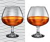 Transparenten und opaken realistische volle Cognacgläser