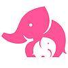 大象妈妈和孩子。符号或标志 | 向量插图