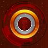 3D Tech-Kreis-Rahmen auf orangefarbenen Hintergrund