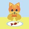 schöne Katze essen Fisch