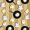 nahtloser Hintergrund mit Tassen Kaffee und Spiegelei