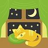 Agradable gato durmiendo cerca de la ventana | Ilustración vectorial