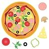 Pizza und Zutaten auf weißem Hintergrund