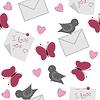 nahtlose Hintergrund mit Vögeln, Schmetterlingen und Herzen