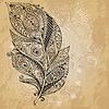 Tribal Grafik Federn mit doodle Muster