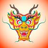 Flach Stil chinesischen roten Drachen Maske