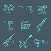 Light outline house remodel power tools icons on | 向量插图