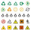 verschiedene Recycling und gefährliche Abfälle Zeichen Satz