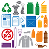 Recycling und verschiedenen Abfall farbige Symbole