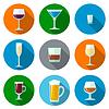 Satz flache Bauweise Alkohol Brille Symbole