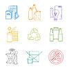 farbige Gruppen skizzieren verschiedene Müll getrennt