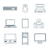 Dark outline computer gadgets icons   Stock Vector Graphics