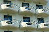 Balconies of hotel in Greece | Stock Foto