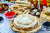 Pancakes with various fillings, caviar, mushrooms | Stock Foto