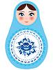 Russischen Puppen mit blauen Blumen