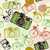 Jahrgang Filmkamera, und Fahrräder, nahtlose patter
