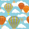 Nahtlose Muster. Heißluftballon und Wolken im Himmel