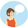 Mädchen Operator in den Kopfhörern auf blauem Hintergrund
