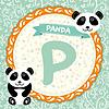 ABC Tiere P ist Panda. Kinder Englisch Alphabet