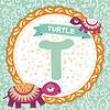 ABC Tiere T Schildkröte. Kinder Englisch Alphabet