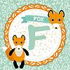 ABC Tiere F Fuchs. Kinder Englisch Alphabet